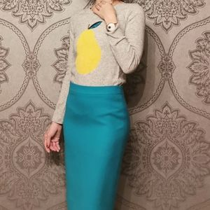 J. Crew wool blend pear print sweater